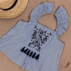 Zara Embroidered Tassel Top Ruffle Sleeves Striped